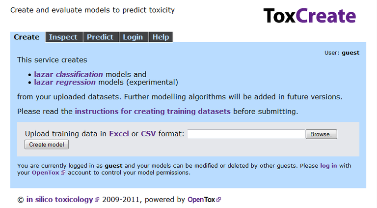 ToxCreate Starting Page